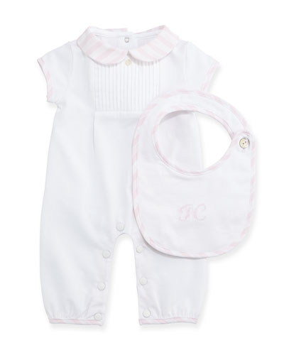 Short-Sleeve Playsuit & Bib Gift Set, Light Pink, Size Newborn-6 Months