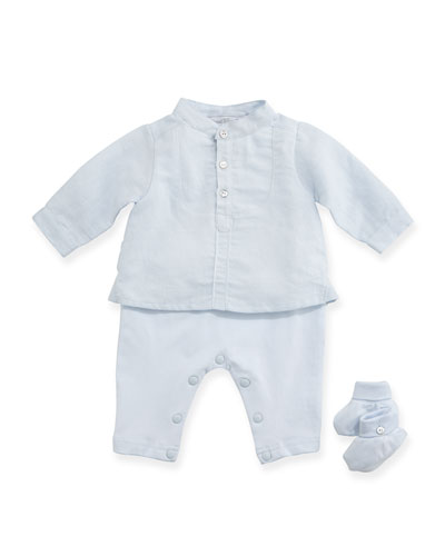 Long-Sleeve Pajama & Bootie Gift Set, Light Blue, Size Newborn-6 Months