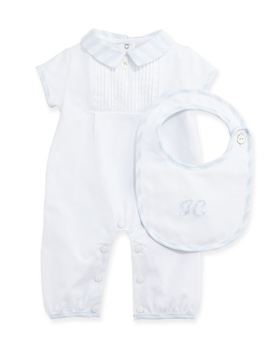 Short-Sleeve Playsuit & Bib Gift Set, Light Blue, Size Newborn-6 Months