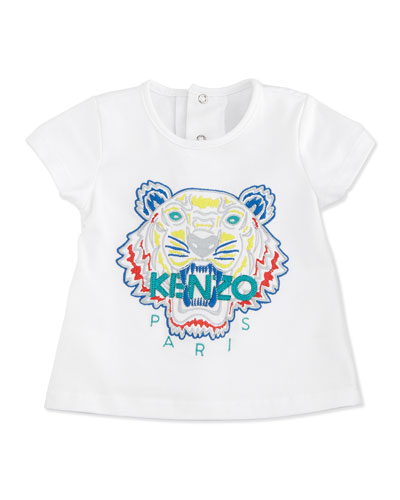 Snap-Back Stretch Tiger Tee, White, Size 3M-2Y