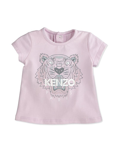 Snap-Back Stretch Tiger Tee, Pink, Size 3M-2Y