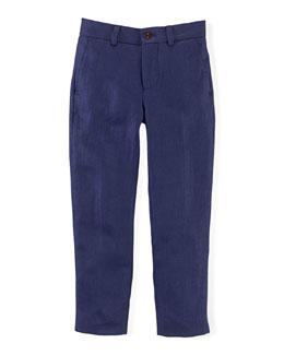 Chevron-Knit Linen Preppy Shorts, Newport Navy, Size 2-7