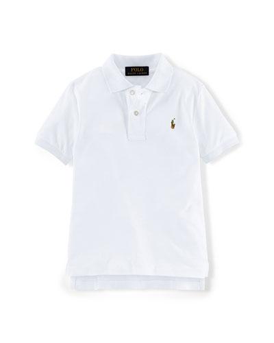 Short-Sleeve Pima Polo Shirt, White, Size 2-7