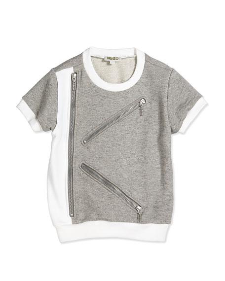 Kenzo Short-Sleeve Fleece-Lined Tee, Gray/White, Size 2Y-5Y