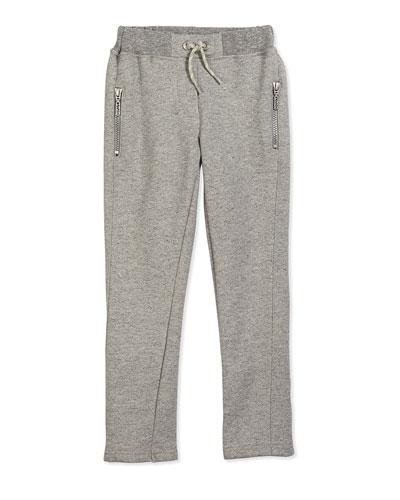 Fleece-Lined Drawstring Sweatpants, Gray, Size 2Y-5Y