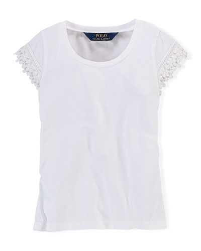 Lace-Trim Jersey Tee, White, Size 2T-6X