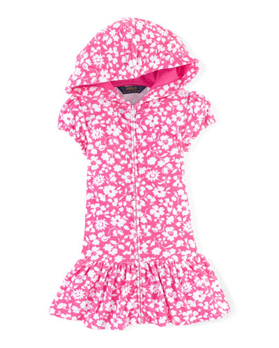 Floral Hooded Terry Coverup, Pink/White, Size 2T-6X