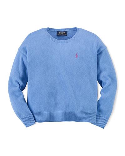 Long-Sleeve Fine-Gauge Sweater, Harbor Island Blue, Size 2T-6X