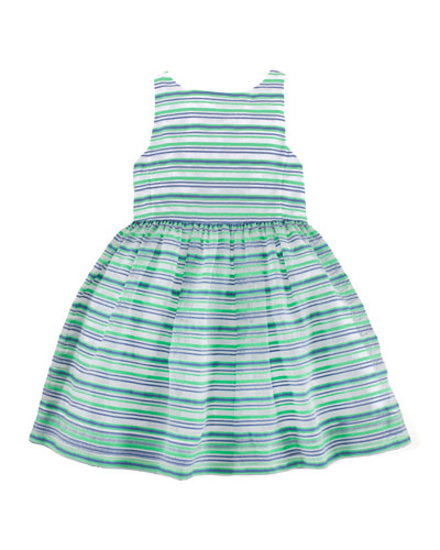 Sleeveless Ribbon-Striped Dress, Green/Multicolor, Size 2T-6X