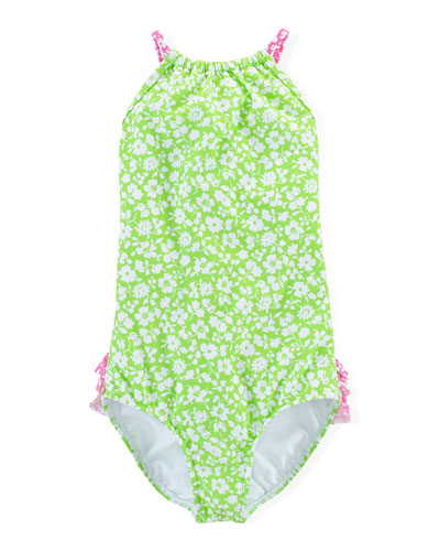 Floral One-Piece Swimsuit, Green/White/Pink, Size 2T-6X
