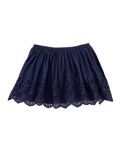 Embroidered Eyelet Circle Skirt, Newport Navy, Size 2T-6X