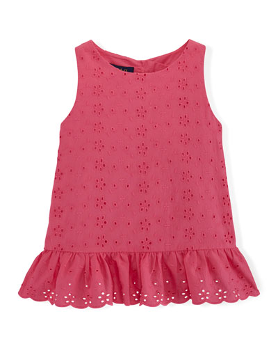 Embroidered Eyelet Ruffle-Trim Tank, Pink, Size 2T-6X