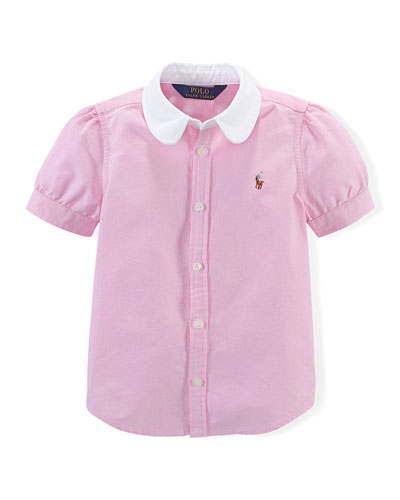 Short-Sleeve Oxford Blouse, Pink, Size 2T-6X