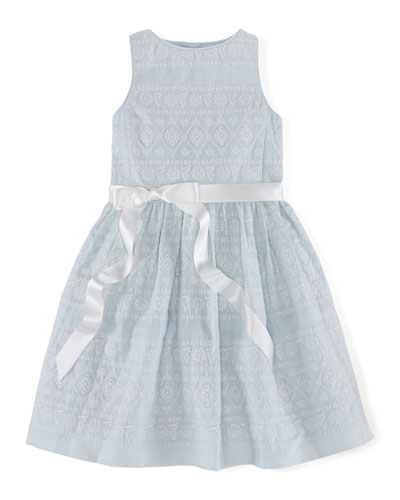 Sleeveless Embroidered Ramie Dress, Blue, Size 2T-6X
