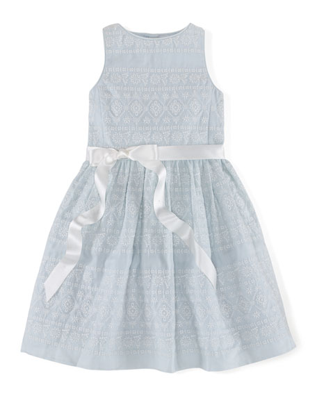 Ralph Lauren Childrenswear Sleeveless Embroidered Ramie Dress,