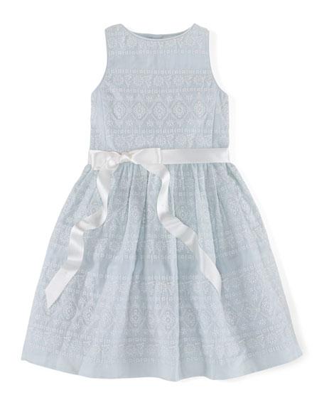Ralph Lauren Childrenswear Sleeveless Embroidered Ramie Dress,