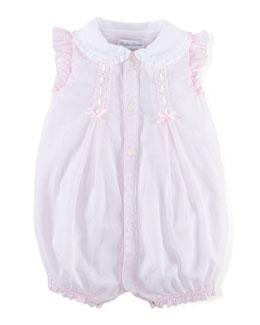 Lace-Trim Organdy Bubble Playsuit, Pink, Size 3-18 Months