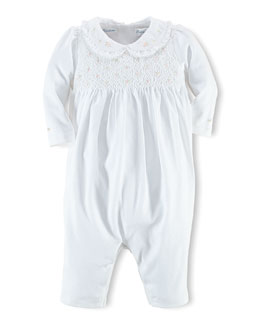 Embroidered Cotton Coverall, White, Size 3-12 Months