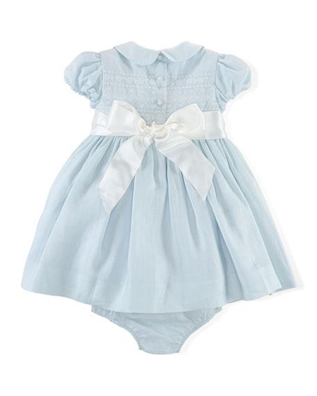 Ralph Lauren Childrenswear Embroidered Ramie Dress & Bloomers, Blue, Size 3-24 Months