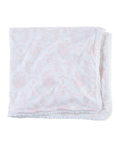 Floral-Print Cotton Blanket, Pink/White