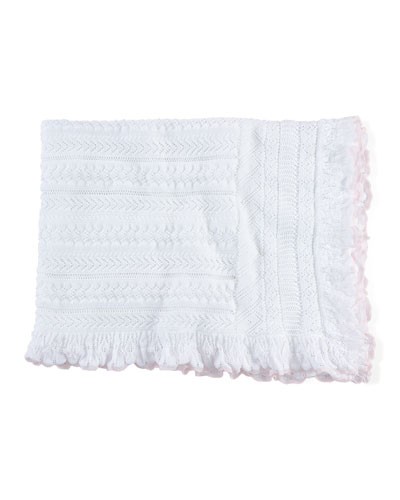 Pointelle-Knit Cotton Blanket, Soft Pearl