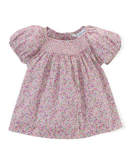 Floral-Print Bubble-Sleeve Lawn Blouse, Pink/Purple, Size 9-24 Months