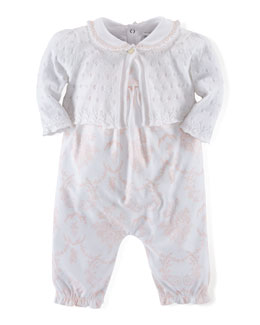 Cotton Bolero, Playsuit & Overalls Set, Pink/White, Newborn-12 Months