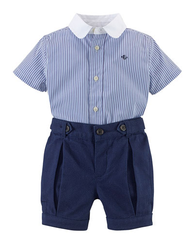 Cotton Poplin Shirt & Pique Shorts, Blue, Size 6-24 Months