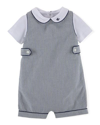 Striped Seersucker Shortall Set, Blue/White, Size 6-24 Months
