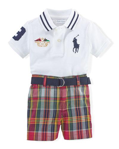 Mesh-Knit Polo, Belt & Plaid Shorts, White/Multicolor, Size 6-24 Months