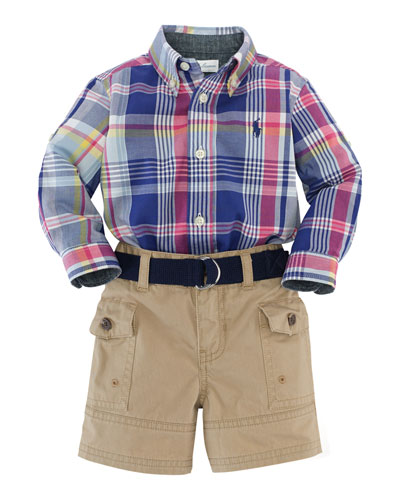Madras Plaid Poplin Shirt, Belt & Cargo Shorts, Blue/Multicolor, Size 6-24 Months