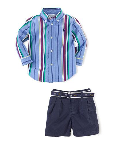 Long-Sleeve Striped Poplin Shirt & Shorts, Blue/Multicolor, Size 6-24 Months