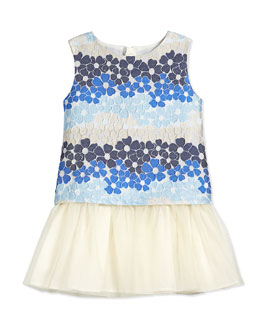 Floral Jacquard Dress w/ Tulle Skirt, Blue, Size 2-8