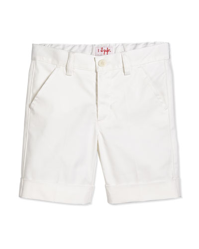 Flat-Front Cuffed Shorts, White, Size 3T-4T