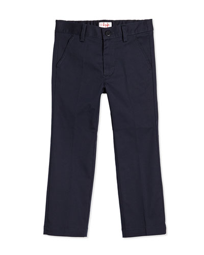 Flat-Front Twill Trousers, Navy, 3T-4T