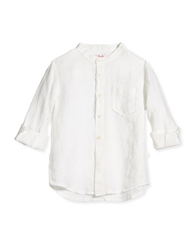 Nehru-Collar Linen Button Shirt, Off White, Sizes 3T-4T
