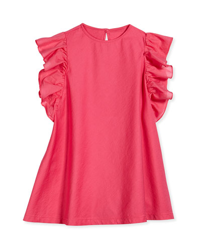 Ruffle-Sleeve A-Line Dress, Pink, Sizes 3T-4T