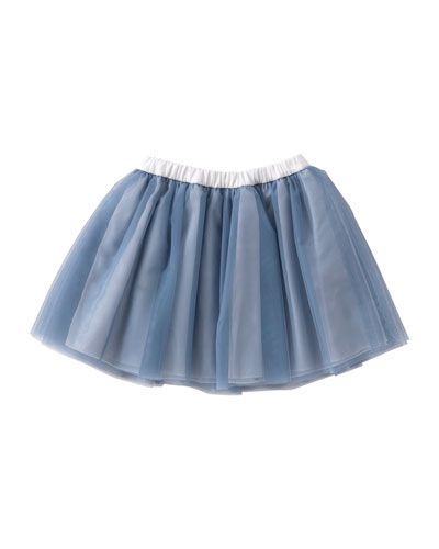 Smocked Tulle Skirt, Gray/Blue, Size 3T-4T