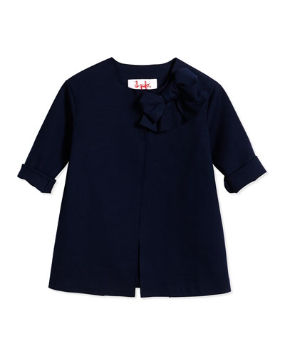 Snap-Front Ponte Coat, Navy, Size 3T-4T