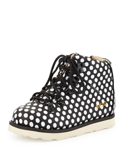 Polka-Dot Leather Bootie, Black/White