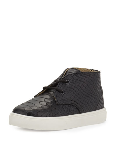 Knight Snake-Embossed Leather Sneaker, Black