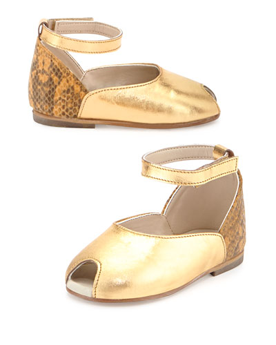 Leather Peep-Toe Sandal, Gold, Girls