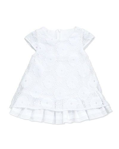 Floral Lace A-Line Dress, White, Size 2-18M