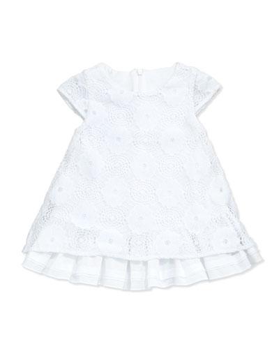 Floral Lace A-Line Dress, White, Size 2-18M