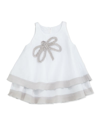 Dragonfly Voile Tiered Dress, White/Gray, Size 2-18M