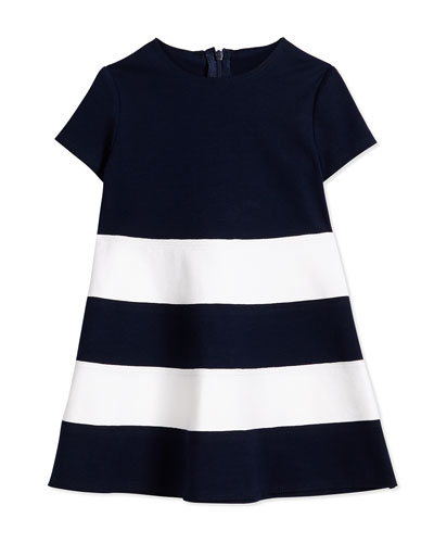 Short-Sleeve Striped Ponte Dress, Navy/White, Size 3T-4T