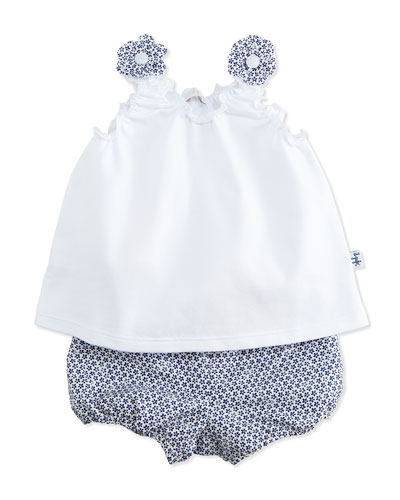 Jersey Tank & Floral Shorts, White/Blue, Size 6-12 Months