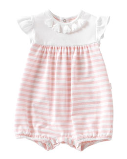 Flutter-Sleeve Striped Bubble Playsuit, Pink/White, Size 6-12 Months