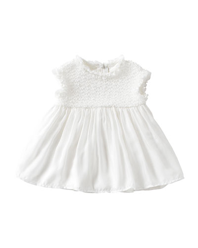 Cap-Sleeve Woven Shift Dress, Off White, Size 6-12 Months