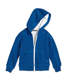 Layered Thermal-Knit Hoodie, Cobalt, Size 2-7